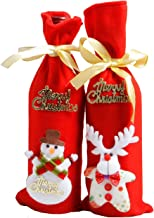 2PCS Christmas Wine Bottle Cover Bags Xmas Snowman Deer Pattern Bottle Wrap Party Festival Decors
