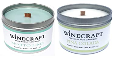 2 Pack - Wooden Wick Aromatherapy Candle - Wine Scented Soy Wax (Mojito Lime & Piña Colada - 2 Pack)