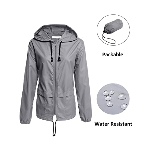 f9543d4f303 Waterproof Lightweight Hooded Outdoor Rain Jacket Women s Trench Coats  Lightweight Travel Trench Windbreaker Jacket L