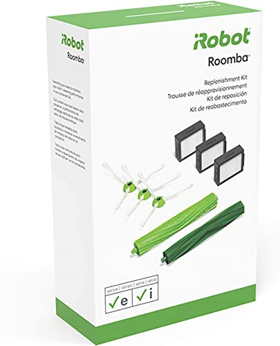 iRobot Authentic Replacement Parts- Roomba e and i Series Replenishment Kit, (3 High-Efficiency Filters, 3 Edge-Sweep...