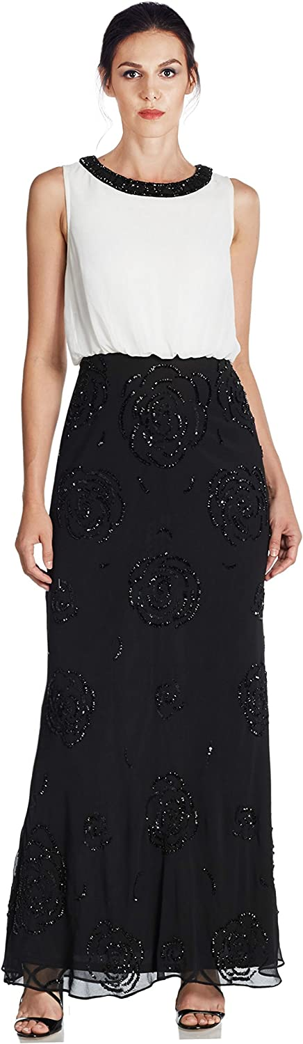 Aidan Mattox Embellished Beaded Blouson Evening Gown Dress