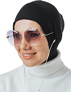 Instant Hijab for Headphones and Glasses, Sport Head Scarf, Ready to wear Muslim Accessories for Women (Black)