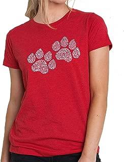 LA POP ART Women's Premium Blend Word Art T-Shirt - Woof Paw Prints