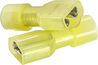 """50 PCS Yellow Female Nylon Disconnect Spade Terminal, 12-10 Gauge, Fully-Insulated Crimp Connector for Marine & Automotive Use - 0.25"""" Tin Plated Brass Receptacle"""