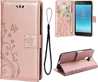 Wallet Case for Samsung Galaxy J2 PRO (2018), 3 Card Holder Embossed Butterfly Flower PU Leather Magnetic Flip Cover for Samsung Galaxy J2 PRO (2018)(Rose Gold)