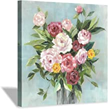 Hardy Gallery Abstract Rose Flower Canvas Painting:Rustic Hand Painted Textured Colorful Bouquet Floral Artwork Wall Art f...