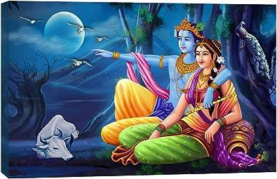 ARTAMORI Glarious Radha Krishna Sitting in Moonlight Canvas Painting