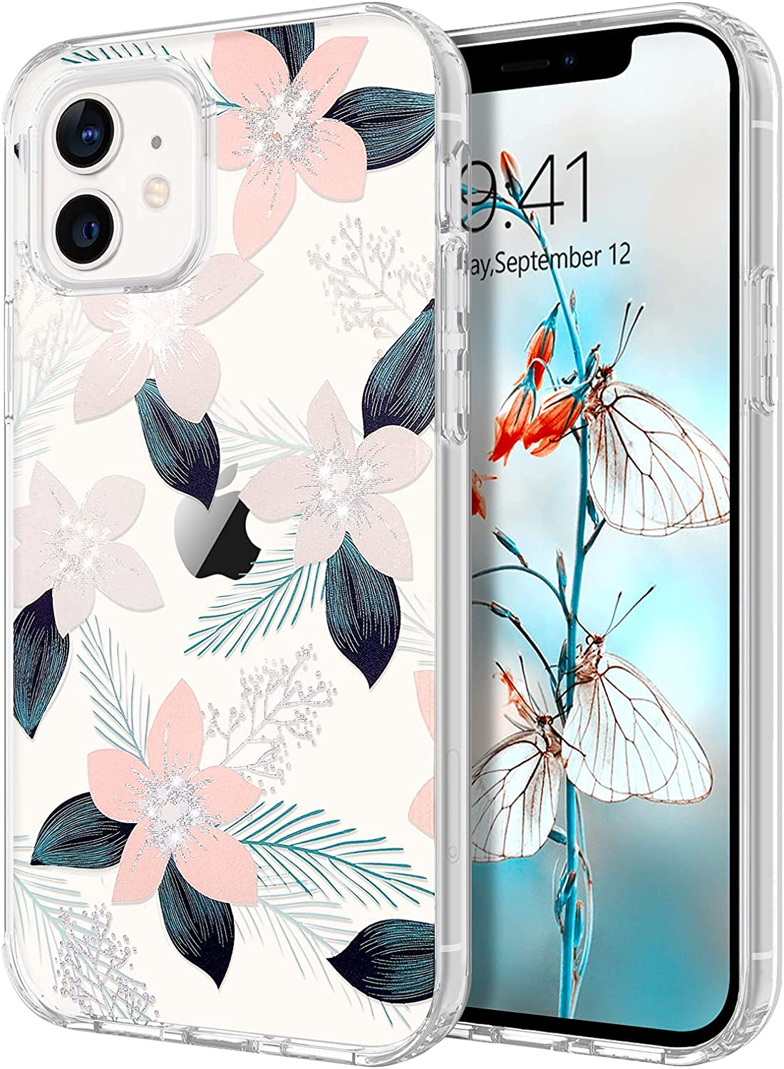 GUAGUA Compatible with iPhone 12 Pro/12 Case 6.1-inch Clear Shiny Pink Flower Pattern Cover for Girls Women Slim Lightweight Hard PC Protective Transparent Floral Design Case for iPhone 12/12 Pro
