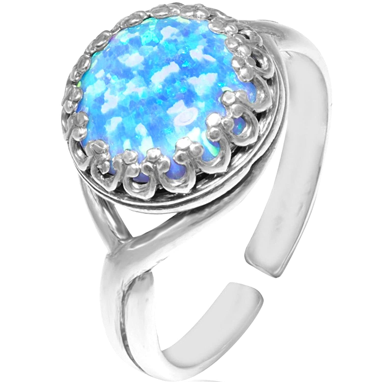 925 Very popular! Sterling Silver Blue Opal Ring Birth Style Vintage San Jose Mall - October