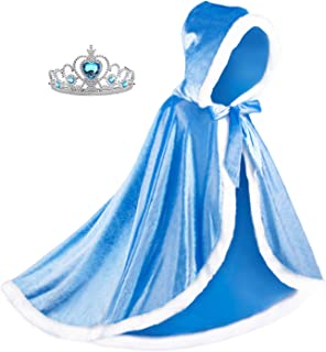 Almce Fur Princess Hooded Cape Cloaks Costume - Birthday Halloween Cosplay for 2-10 Years Girls Dress Up