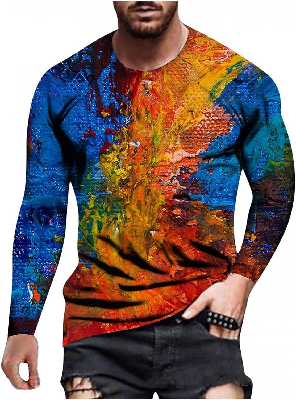 FUNEY Mens Fashion 3D Print T Shirts Casual Long Sleeve Crewneck Tops Vintage Graphic Tees Novelty Design T-Shirts Streetwear
