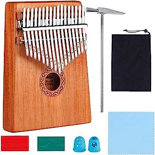 Kalimba 17 Clés Pouce Piano avec instructions d'étude, Haute Qualité Doigt Instrument, Tuning Hammer, bois Acajou, Marimba...