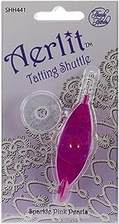 Handy Hands Aerlit Tatting Shuttle with 2 Bobbins, Sparkle Pink Pearls