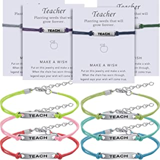 Hicarer 10 Pieces Teacher Blessing Card Bracelet Teacher Blessing Bangle Greeting Bracelet Teacher`s Day Gift Jewelry