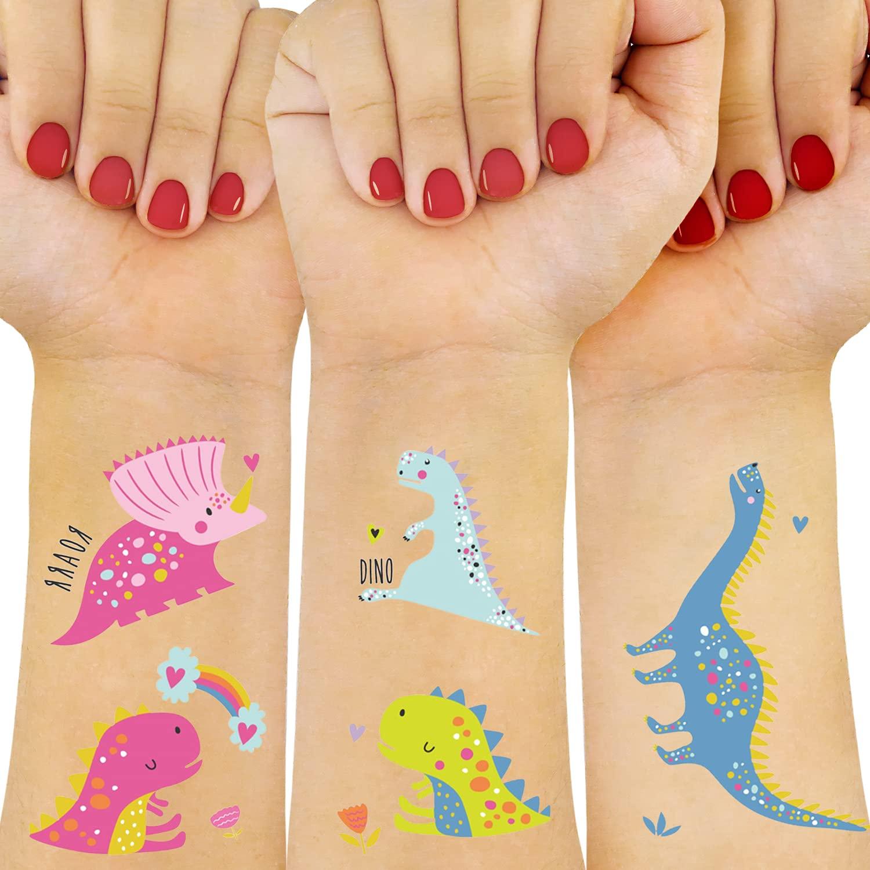 WISHDIAM Award-winning store New arrival Dinosaur Temporary Tattoos for Fake Styles Tat 100 Kids