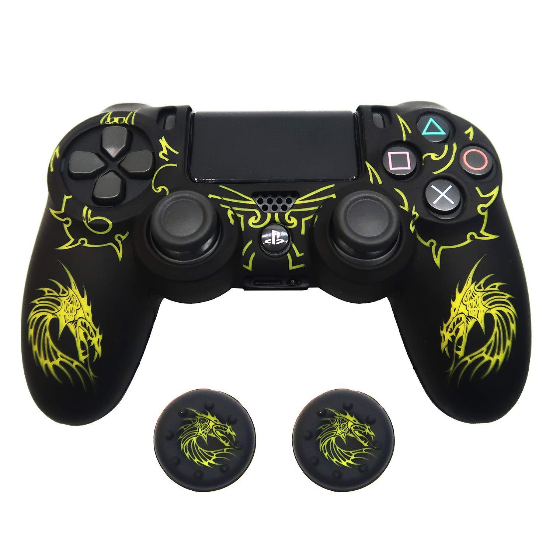 Combo funda y Thumb grips para control de PS4 (amarillo)