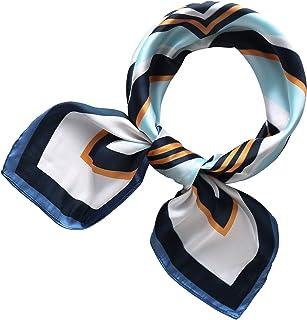 RIIQIICHY Women's 27.5'' Silk Satin Square Floral Print Hair Head Scarf Neckerchief