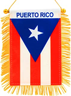 Best Anley 4 X 6 Inch Puerto Rico Window Hanging Flag - Rearview Mirror & Double Sided - Fringed Puerto Rican Mini Banner with Suction Cup Reviews