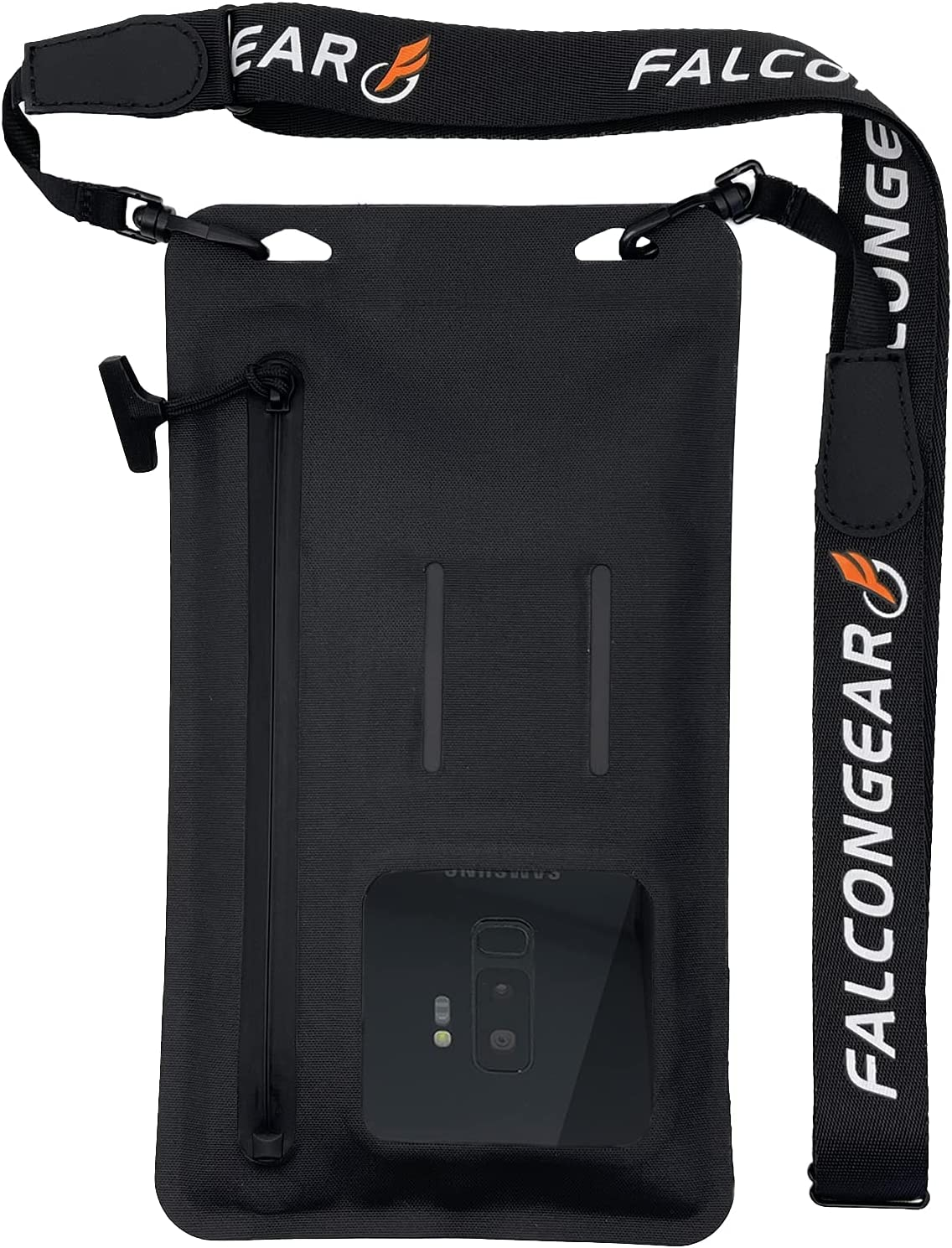 """FalconGear Floating Waterproof Phone Pouch Universal Waterproof Phone Case with Zipper & Adjustable Lanyard Cellphone Dry Bag for iPhone 12/11 Pro Max XR Galaxy S21/20 Ultra & Up to 7.5"""" (Black)"""