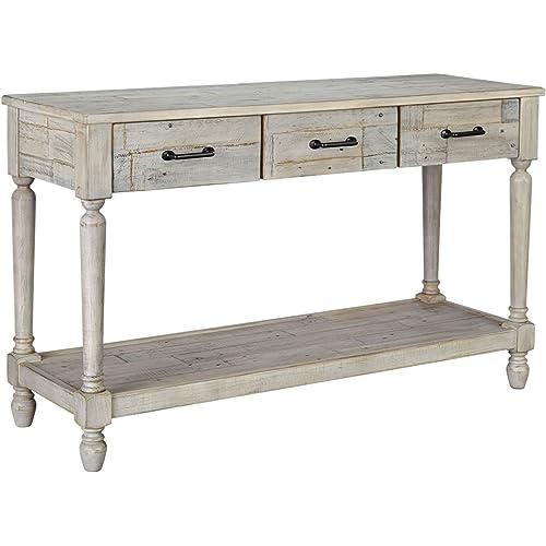 Signature Design By Ashley Shawnalore Sofa Table W Fixed Shelf Whitewash Wood Furniture Decor Amazon Com
