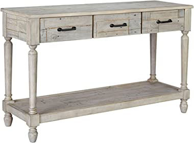 Signature Design by Ashley - Shawnalore Sofa Table w/ Fixed Shelf, Whitewash Wood