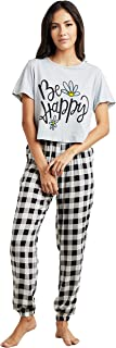 Be Happy Slogan Printed Boxy T-shirt and Checked Cuff Pyjama Set For Women