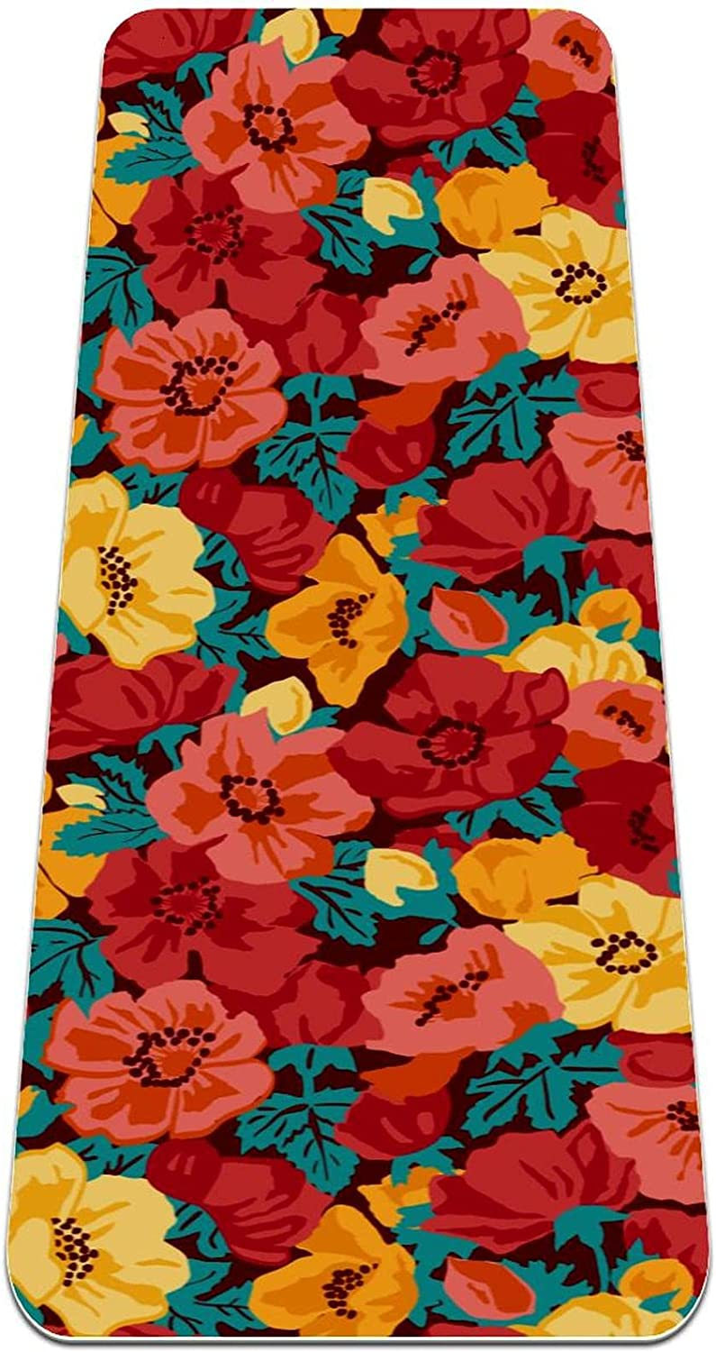 Siebzeh Red and Yellow Flowers Premium Friend Mat Yoga Thick shipfree Eco Excellence