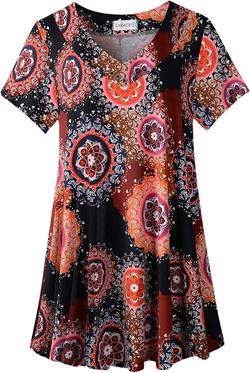 LARACE Women's Plus Size Tunic Tops Short Sleeve V Neck Floral Blouses Basic Flowy Leopard Print T Shirts for Leggings