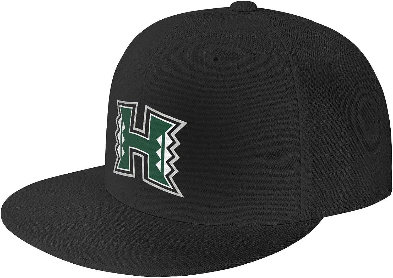 University of Hawaii at Manoa Logo Unisex Adjustable Baseball Cap, Flat-Brimmed Sun Hat, Casual and Breathable Black