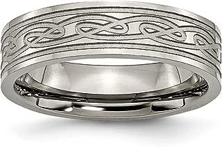 Titanium Flat Laser Etched Irish Claddagh Celtic Knot 6mm Wedding Ring Band Designed Fashion Jewelry for Women Gift Set