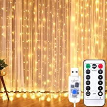 Curtian String Lights, HWZX 300 LED Window Curtain String Light with Remote Control Timer for Christmas Wedding Party Home...