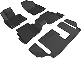 3D MAXpider Complete Set Custom Fit All-Weather Floor Mat for Select Mazda CX-9 Models - Kagu Rubber (Black)