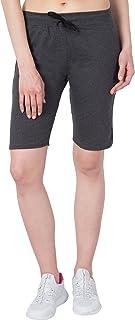 American-Elm Women Dark Grey Plain Casual Slim Fit Short Capris