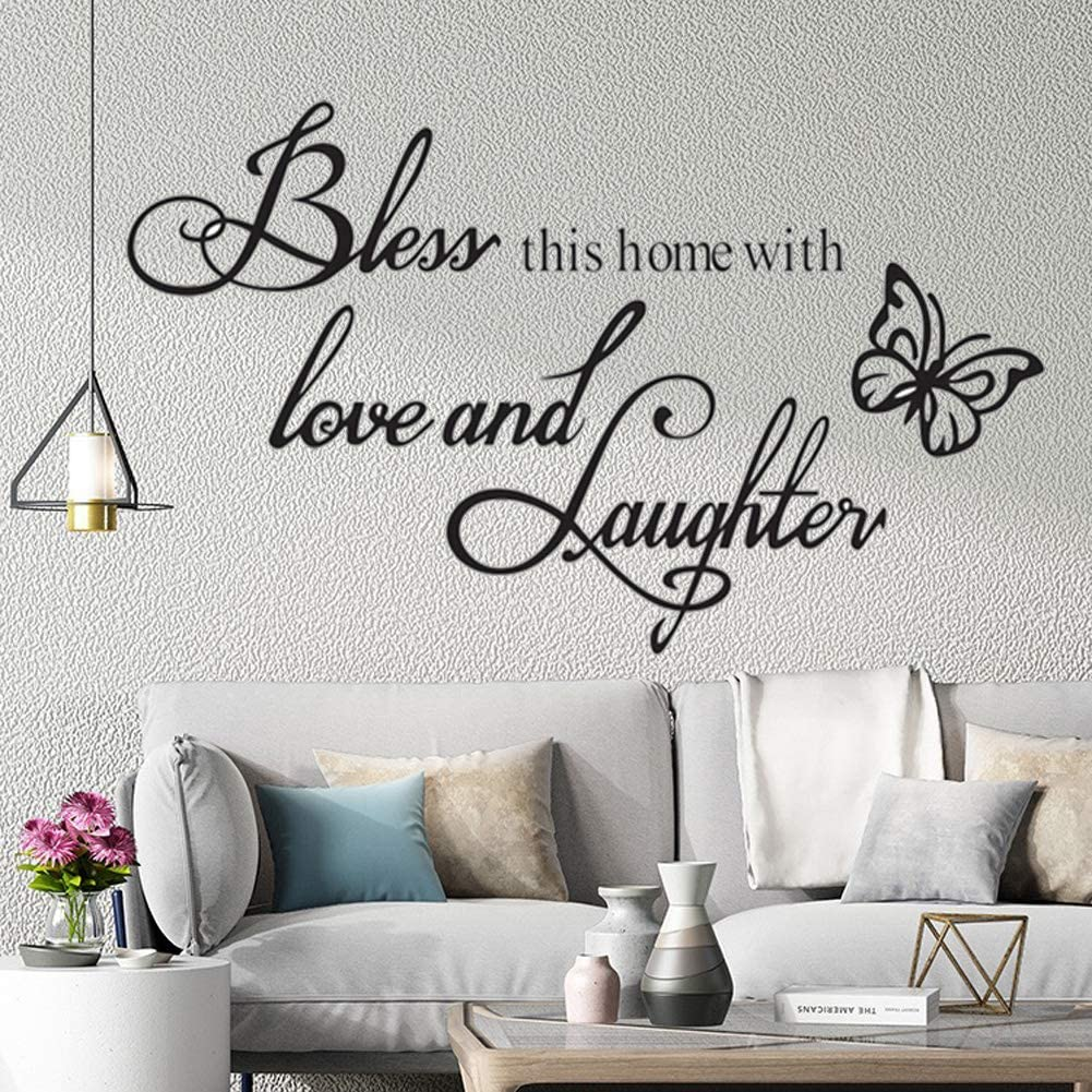 Wall Stickers for Bedroom and Living Room,Warmly for Living Room Quote- Bless This Home with Love and Laughter Art Wall Decal CASADECOR