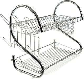 2 tier Dish Drying Rack, Large Dish Racks with Drain Board Utensil Holder Stainless Steel Generic Plate Dishes Drainer for Kitchen Counter over Sink Sturdy DrainBoard- 17 x 10 x 15 IN