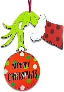 Happy Storm Christmas Door Decorations Grinch Door Hanger Waterproof Hanging Sign Front Door Wall Outdoor Indoor Decor Han...