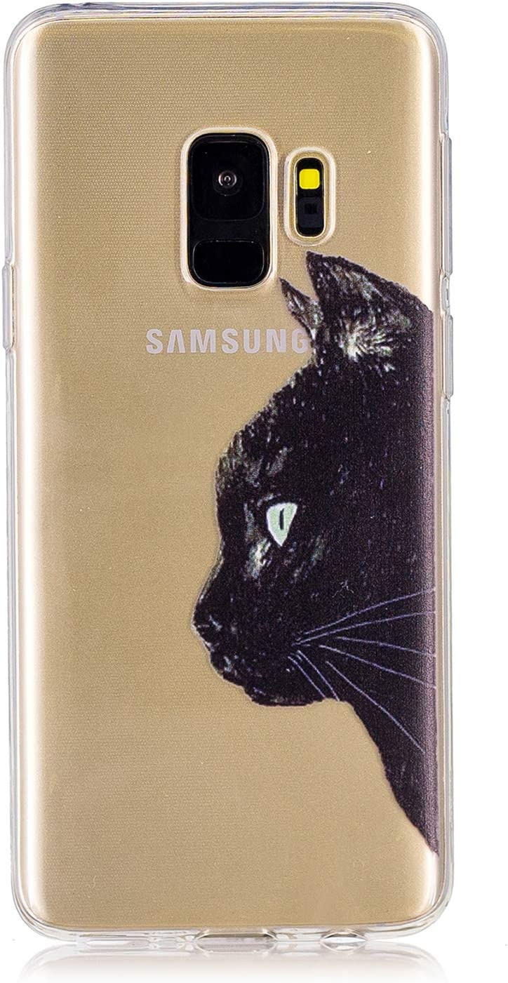 Clear Case for Samsung Galaxy S9 Plus,Aoucase Ultra Thin Art Pattern Soft TPU Rubber Shockproof Non-Slip Back Case with Black Dual-use Stylus,Rainbow Cat