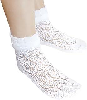 blancos calcetines pointelle niñas pequeñas con el cordón costura libre abrir de punto calcetines finos de algodón sin costuras, 2 pares blanco, 36-39