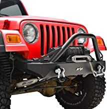 KML Front Bumper with D-Rings and Winch Plate Fit for 87-06 Jeep Wrangler TJ YJ