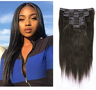 Anrosa Yaki Hair Clip in Yaki Hair Extensions Clip in Human Hair Yaki Hair Clip in Extensions for African American Yaki Straight Clip ins Natural Hair Thick Volume Natural Black 1B 18 inch 120 Gram