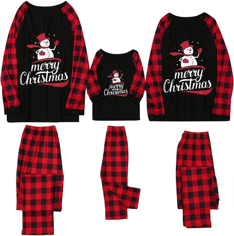 FEDULK Matching Max 62% OFF Family Pajamas Sets Christmas PJ's Pla Sleepwear Super beauty product restock quality top