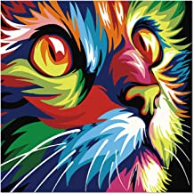 SuperDecor Cute Abstract Cat 5D Diamond Painting Kits Full Drill Diamond Embroidery Painting Art DIY by Number Kits for Home Wall Decor Colorful