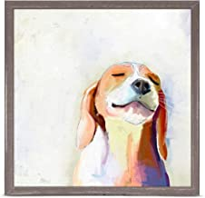 GreenBox Art + Culture Best Friend Beagle Grin by Cathy Walters 6 x 6 Mini Framed Canvas, Rustic Natural