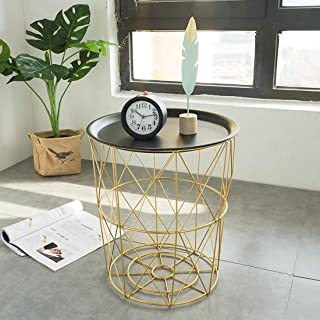 YOUZHIXUAN Boîte de Rangement Tables Basses Art de Fer Nordique Moderne Salon Simple, Panier de Chambre avec Panier latéra...