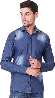 Lafantar Men's Slim Fit Denim Casual Shirt (Blue)