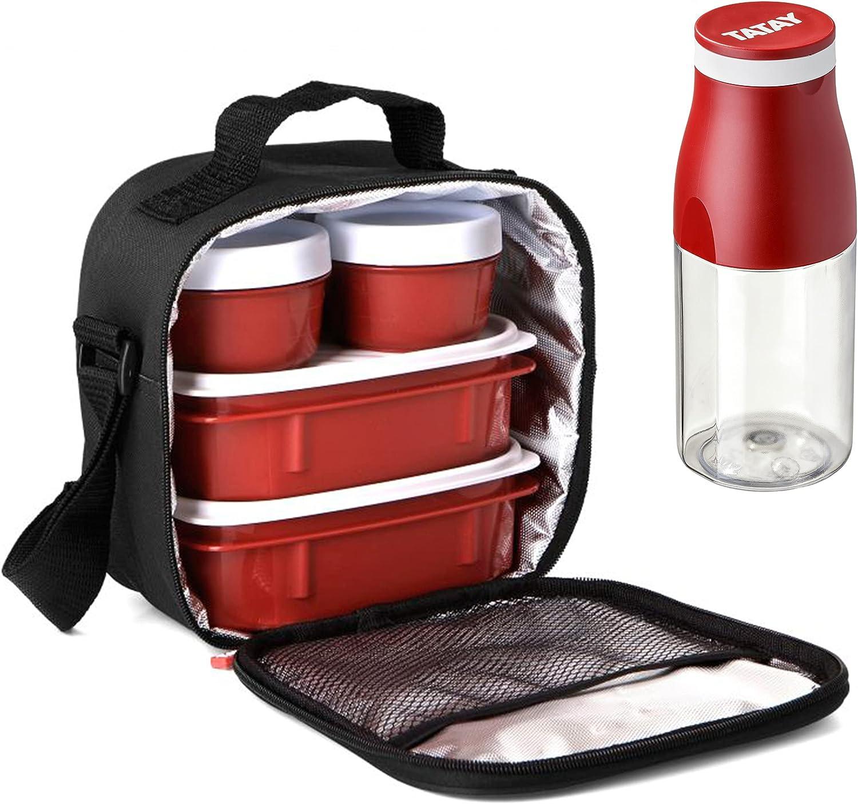 PracticFood - Urban Food Casual con Botella Urban Drink. Bolsa Térmica Porta Alimentos con Tapers Herméticos (Black Drink)