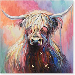 7CANVAS Cow Painting Animal Cattle Picture Colorful Mysterious Highland Cow Wall Art Modern Framed Canvas Painting for Bedroom Kid Room 24x24 Inch