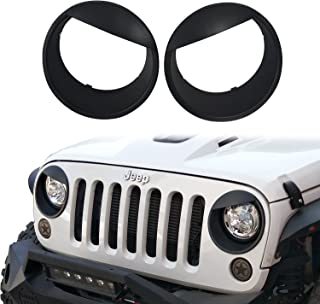 Jeep Wrangler Headlight Cover Matte Black Angry Bird Bezels for 2007-2018 Jeep Wrangler Jk & JK Unlimited