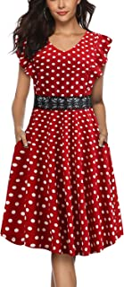 Women's Vintage Ruffle Flared Pockets A Line Swing Casual Cocktail Party Dress