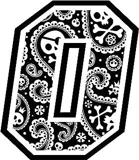 Adesivo NUMERO GARA - da 8 a 14 cm - TESCHIO SKULL HENNE' HENNè FIORI BLACK AND WHITE SMILE FLOWERS - Motocross Pista Auto...